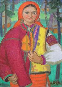 10 самых известных картин украинских художников: Андрей Коцка «Верховынка в красном платке»