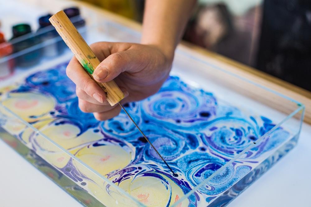 Ebru Art is painting on water