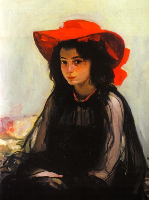 «Девушка в красной шляпе» Александр Мурашко